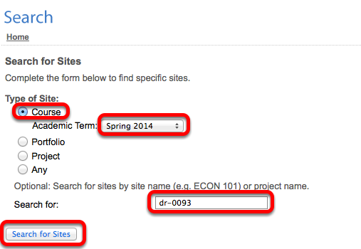 Select Courses, the semester, enter the course number, then click Search for Sites.