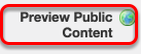 To check if a course site is published, go to your Workspace site and click on Preview Public Content.