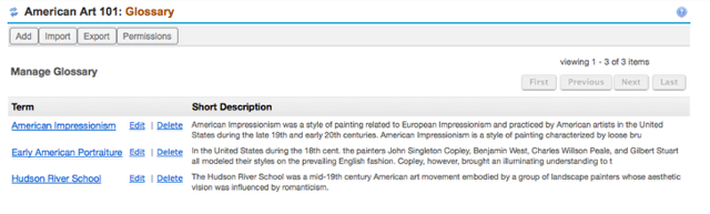 Example of a site Glossary list: