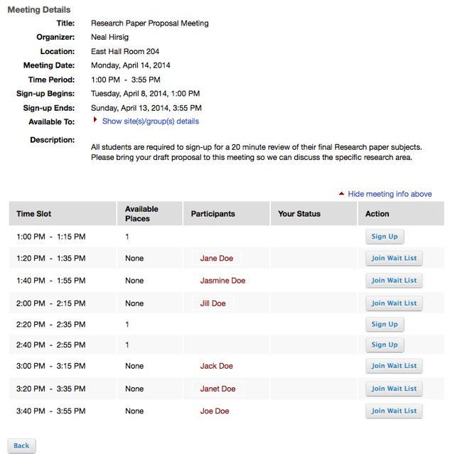 Example of student view of a meeting sign-up sheet: