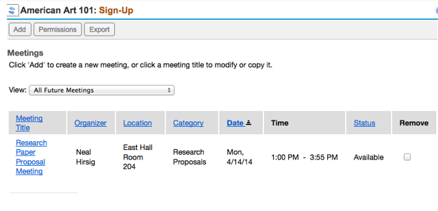 Example of a single sign-up meeting as displayed in the sign-up list.