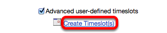 (Optional) Advanced User-Defined Time Slots - Check box and click Create Time Slots.