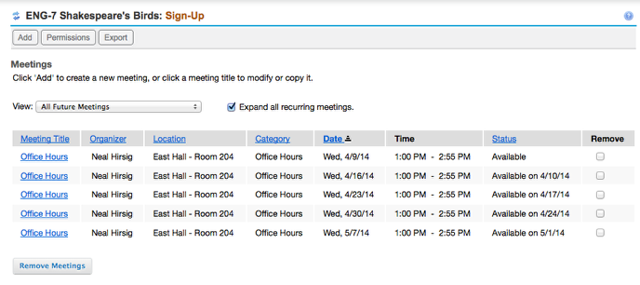 Example of a reoccurring Sign-up schedule on the Sign-up list page.