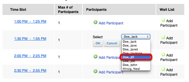 For a time slot, click Add Participant then use the dropdown box to select a student.