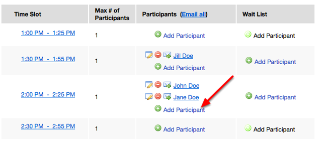 """Add multiple students to a time slot by re-clicking """"Add Participant""""."""