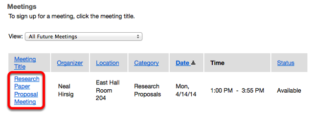 Click on the name of the meeting.