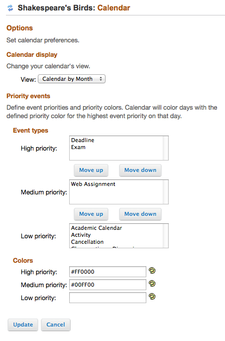 To edit the display of the Site Calendar, click Options.