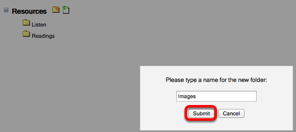 """Name the folder """"Images"""" and click Submit."""