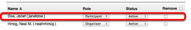 Example - Site editor accounts list: