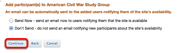 Decide if you want to notify the person by email, then click Continue.