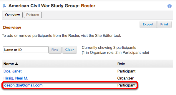 Example Roster tool list:
