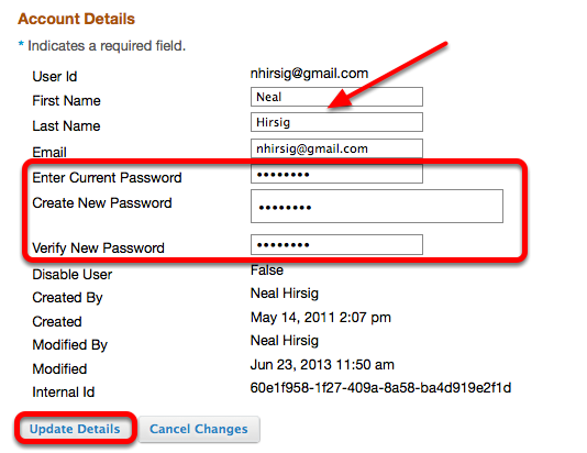 Enter new password information and click Update Details.