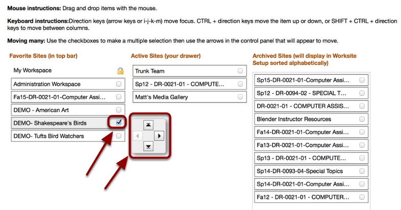 To move an item up or down a column, checkmark the item and use your arrow keys to move