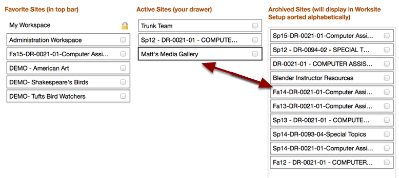 Click and drag any site name from Favorites or Active to the Archived column