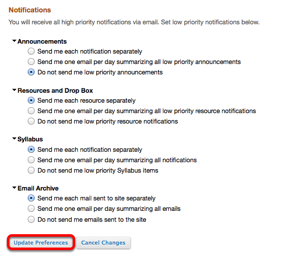 Adjust the notification settings, then click Update Preferences.