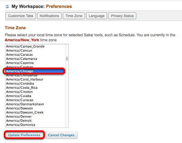 Select your local Time Zone, then click Update Preferences.