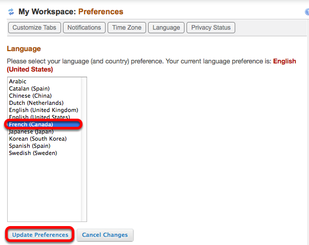 Select a language, then click Update Preferences.