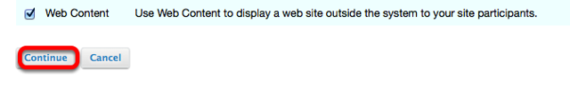 Checkmark Web Content, then click Continue.