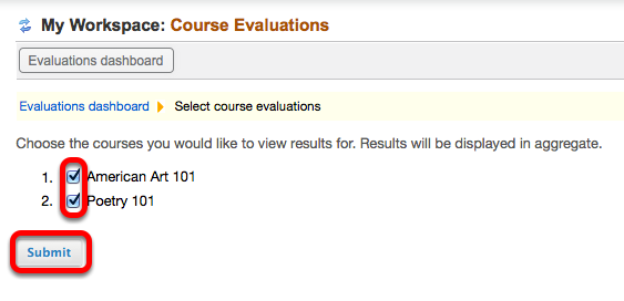 Alternative: Checkmark multiple courses, then click Submit.