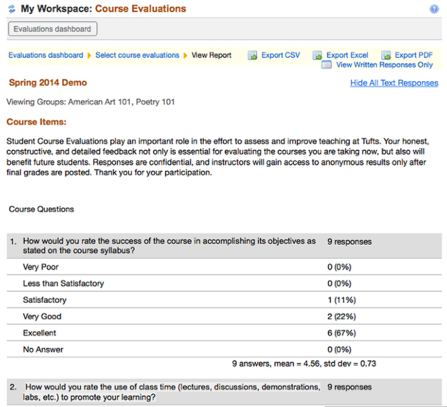 Example of multiple course evaluation display: