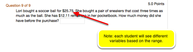 Example of what the Calculated question looks like from the student view: