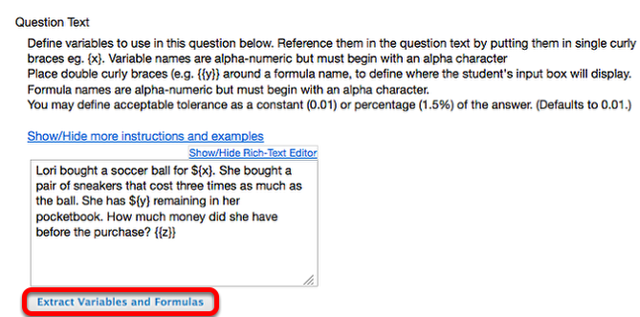 Add Question Text, then click Extract Variables and Formulas.