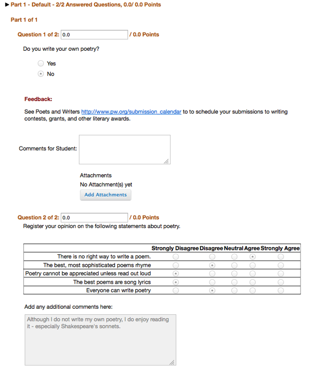 Example of individual submission: