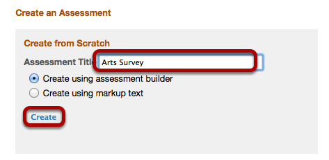 Enter a name for the survey, then click Create.