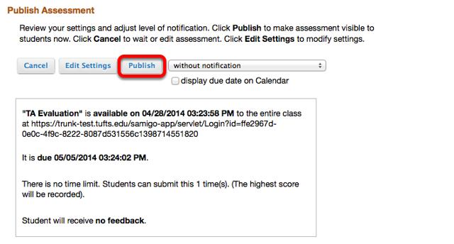 Copy the survey URL, then click Publish.