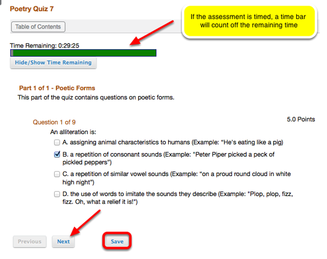 Answer the assessment questions, if each question is on a separate page, click Save after answering the question.
