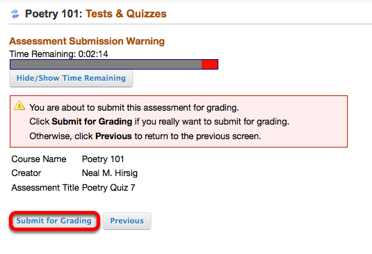 Click Submit for Grading.