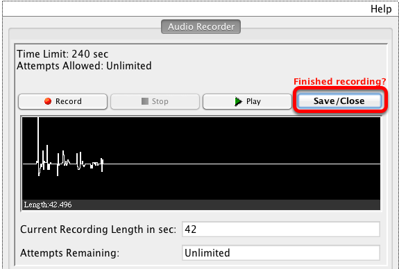 When finished with your recorded answer, click Save/Close