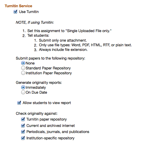Expanded Turnitin features in the Assignments tool: