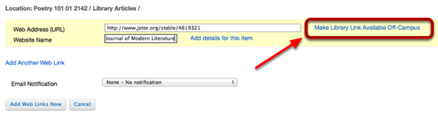 Automatic off-campus linking to library database articles