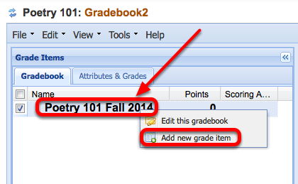 "To add a grade item, Right-Click (CTRL-Click Mac) the gradebook title and select ""Add a new grade item""."