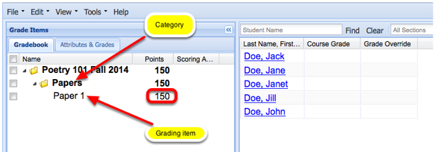 Example of the new item added to the Gradebook Category (Graded by Points):
