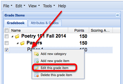 "To release the item grades to students, right-click (CTRL-Click Mac) the grade item and select ""Edit this Item""."