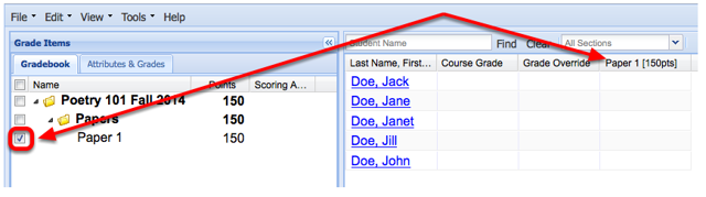 To display the item in the spreadsheet, checkmark the item name