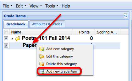 "To add a grade item to the category, Right-Click (CTRL-Click Mac) the category title and select ""Add a new grade item""."