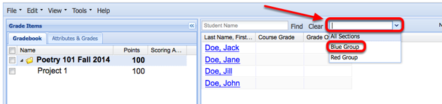 Use the All Sections dropdown box to select a site group.