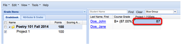 To add a grade, click in the grade cell and enter grade.