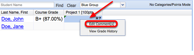 """To add a comment, right-click (CTRL-Click Mac) the grade cell and select """"Edit Comments""""."""