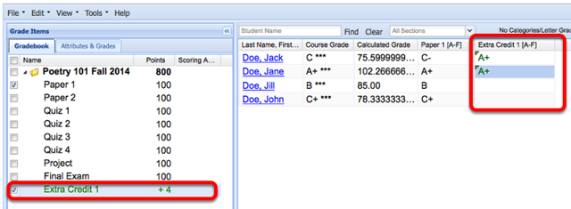 Example: (Non-weighted gradebook - Scoring by Letter Grades)