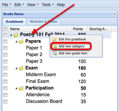 "Right-Click the name of the Gradebook and select ""Add New Category""."
