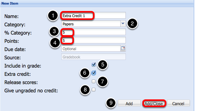 (Weighted Category gradebook - Scoring by Points) - Enter Extra Credit Item Information, then click Add/Close