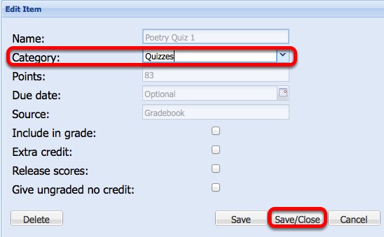Change the Category to the Selected Category, then click Save Close.