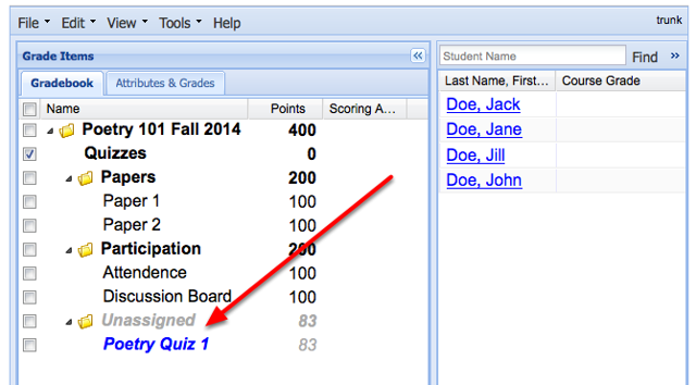 Notice the listing for the Test and Quizzes assessment.