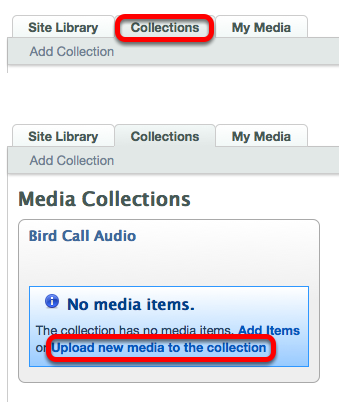 Various Uploading buttons: Collections