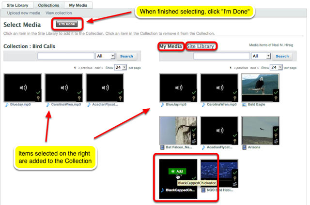 """Select Site Library or My Media, then select media (by clicking on the thumbnail) then click """"I'm Done""""."""