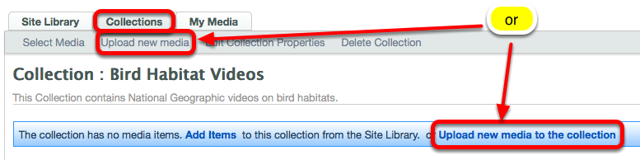 Method 1: (Upload media directly to to the Collection) - Click on the Collections tab, the name of the Collection, then Upload New Media to a Collection